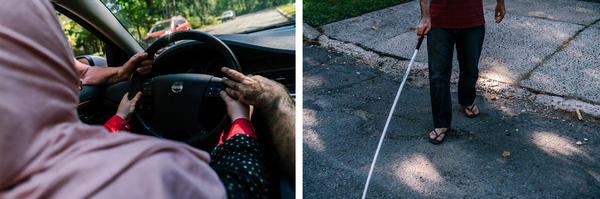 (Left) Ghada and Osama learn car vocabulary from Barbara Ajami. (Right) Osama walks outside after their ESL class.