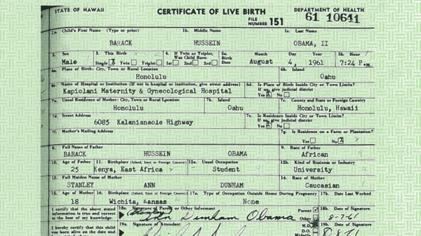 Obama's birth certificate, as released by the White House