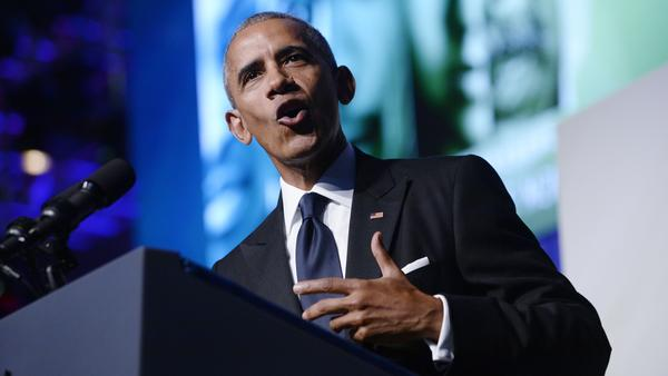 President Barack Obama speaks to the Congressional Black Caucus Foundation's 46th Annual Legislative Conference Phoenix Awards on Saturday night.