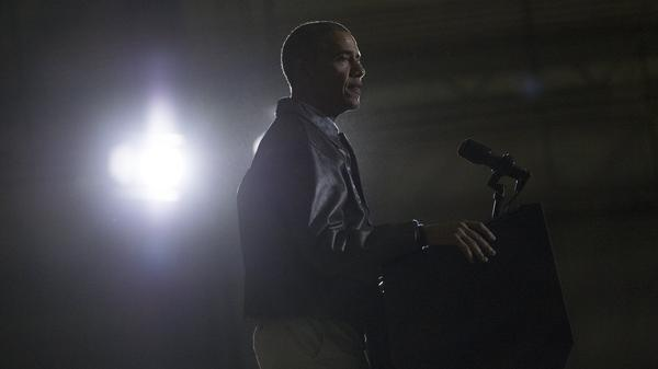 President Obama addresses U.S. troops during a surprise visit to Bagram Air Field in Afghanistan in 2014.