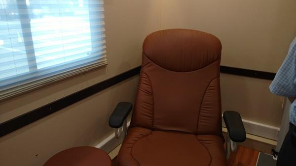 A patient's chair in the suite's examination room.