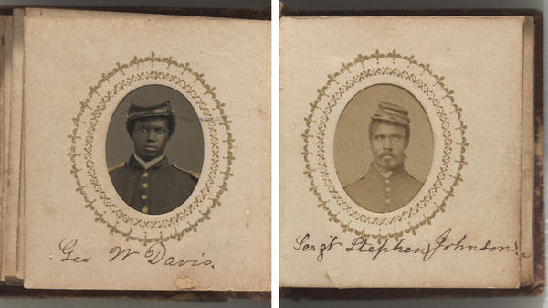 Portraits of George W. Davis (left) and Sgt. Stephen Johnson.