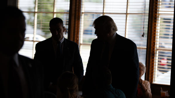 Republican presidential candidate Donald Trump talks to patrons on Tuesday at Stamey's Barbecue in Greensboro, N.C.