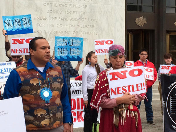 <p>Yakama Nation Tribal Chairman Jode Goudy (left) and Anna Mae Leonard of the Confederated Tribes of Warm Springs during a rally at the Oregon State Capitol opposing a water transfer in the Columbia River Gorge that could help set the stage for a Nestle water-bottling plant.</p>