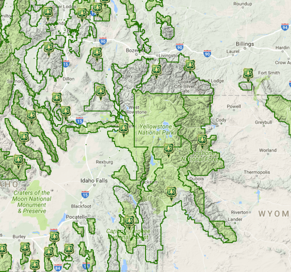 The U.S. Forest Service's own locator map is based on Google Maps, offering one way to see data missing from Google Maps as it layers outlines of national forests' borders over what would normally be Google's mint-green spaces.
