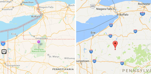 The Allegheny National Forest is absent from Google Maps (right) but displayed on Apple Maps (left).