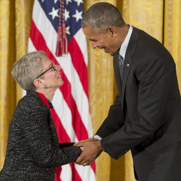 President Obama presents Terry Gross with the National Humanities Medal on Thursday.