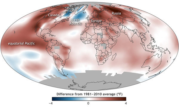 Average surface temperatures for 2015.