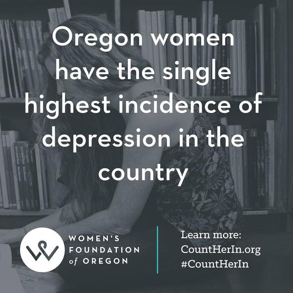 A slide from a report on the state of women in Oregon.