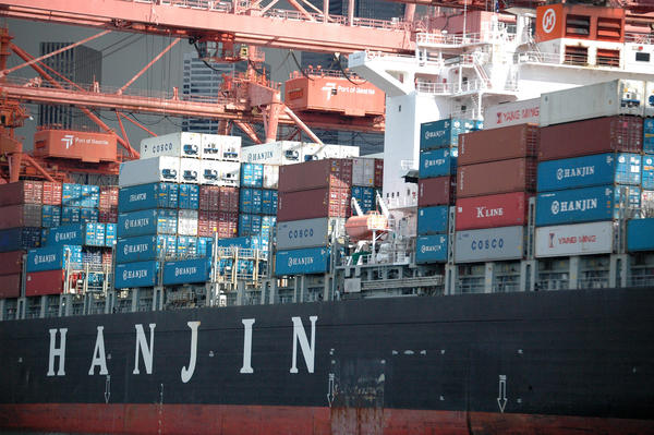 File photo of Hanjin container ship at the Port of Seattle