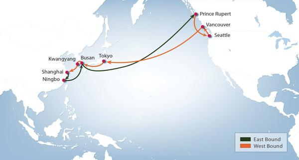 Hanjin Shipping's Pacific Northwest Hanjin Express Service route map