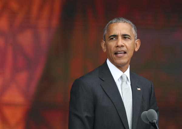 President Obama speaks during the opening ceremony of the Smithsonian National Museum of African American History and Culture on the National Mall in Washington on Saturday.