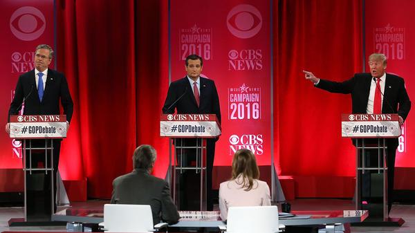 Republican presidential candidates Jeb Bush, left, Sen. Ted Cruz, center, and Donald Trump, right, participate in a Republican primary debate on Feb. 13, 2016, in Greenville, South Carolina.