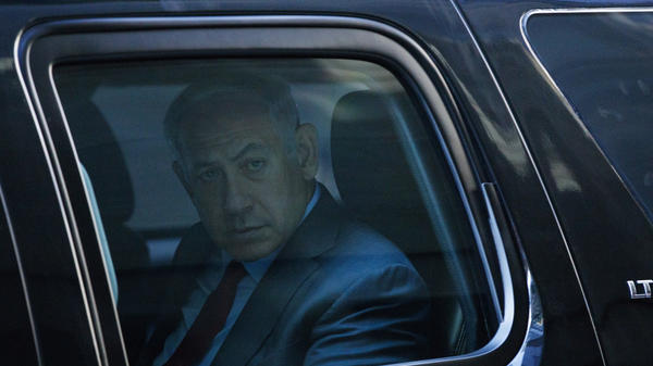 Israeli Prime Minister Benjamin Netanyahu leaves a meeting with Republican presidential candidate Donald Trump at Trump Tower in New York on Sunday.