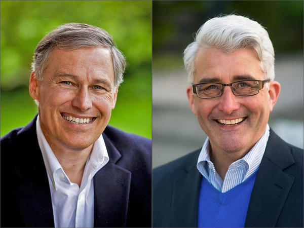 Washington Democratic Gov. Jay Inslee and Republican challenger Bill Bryant squared off in a debate at at Seattle University Monday.