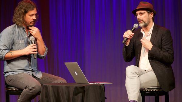 Bob Boilen talks with John Paul White during AmericanaFest 2016.