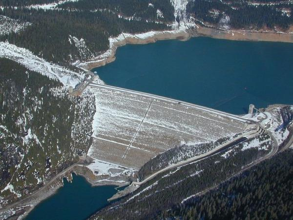"""Mica Dam was completed north of Revelstoke, BC in 1973 to store spring and summer runoff on the Columbia River. It also generates power for BC Hydro."