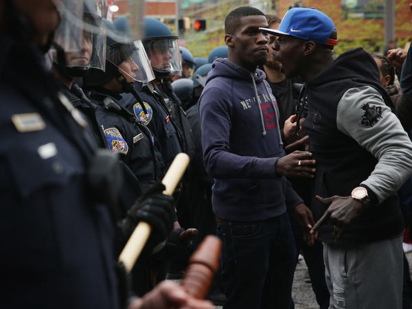 Protesters clash with police in Baltimore on Apr. 25, 2015, during a march in honor of Freddie Gray, who had died in police custody on Apr. 12.