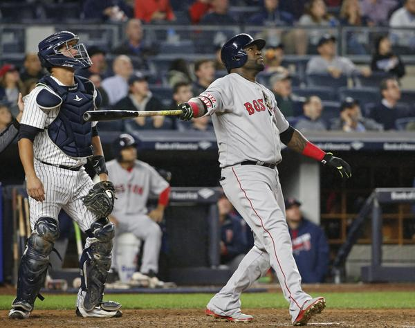 David Ortiz flies out against the Yankees on Wednesday night. The team plans to honor the retiring slugger over its last regular-season homestand,  which begins Friday. (Kathy Willens/AP)