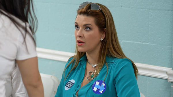 Alicia Machado campaigns for Hillary Clinton on Aug. 20 in Miami.