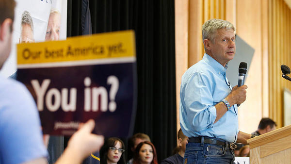 Libertarian presidential candidate Gary Johnson talks to a crowd of supporters at an August rally in Salt Lake City, Utah.