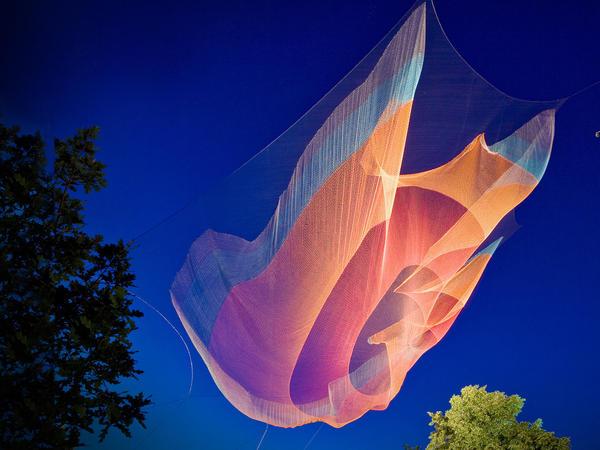 One of artist Janet Echelman's giant, billowing net sculptures.