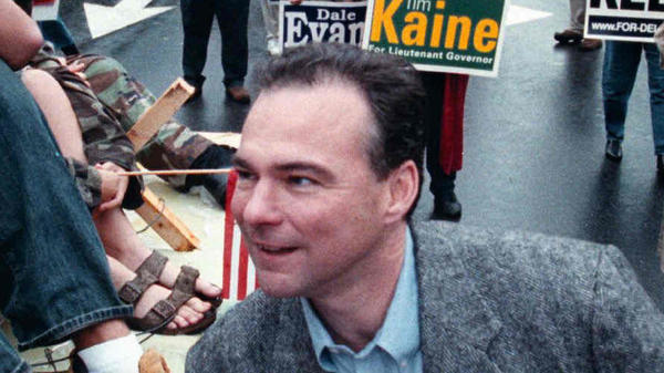 As a candidate for Virginia's lieutenant governor, Tim Kaine attends a homecoming parade in Herndon, Va., on Oct. 6, 2001.