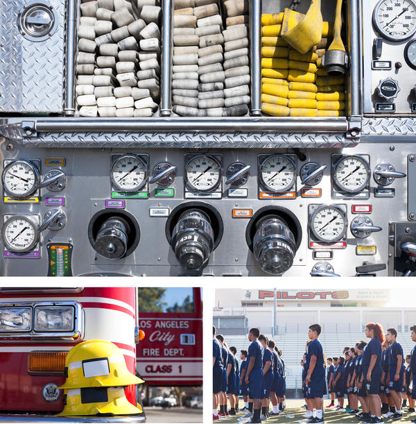 <strong>Clockwise from the top:</strong> Hoses piled neatly on a firetruck at Banning High School's firefighting program in Los Angeles; students line up for exercises; helmets stacked on the bumper of a fire truck.