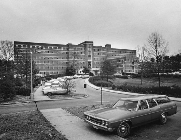 Construction of Moses H. Cone Memorial Hospital in Greensboro, N.C., was partially funded by the Hill-Burton Act. The hospital, seen circa 1973, was at the center of a court case,<em> Simkins v. Moses H. Cone Memorial Hospital, </em>that brought an end to racially segregated health care.