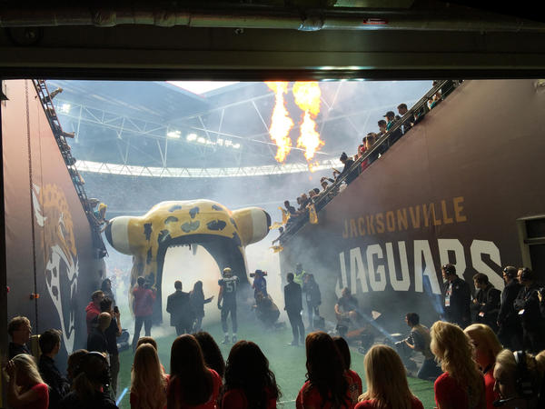 The Jacksonville Jaguars' middle linebacker, Paul Posluszny, enters Wembley Stadium as a crowd of nearly 84,000 cheers. The Jaguars are the closest thing to a hometown American football team in London.