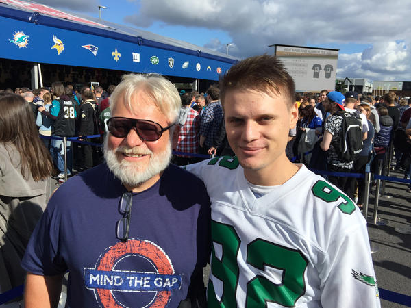 Adrian Schlauri, 24, and his father, Guido, flew into London from Zurich for Sunday's game. Adrian became a football fan while following his dad, who played in an amateur league. Adrian is wearing the vintage jersey of Hall of Fame Philadelphia Eagles defensive end Reggie White.