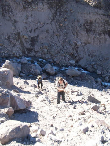 <p>After a debris flow washed out the old trail, some hikers would use ropes to climb down and back up the Eliot Creek drainage to complete the 40-mile Timberline Trail loop.</p>
