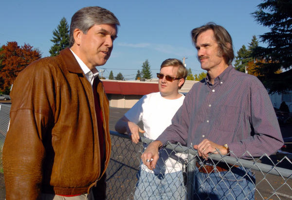 "<p>U.S. Sen. Gordon Smith, left, chats with supporters Kent Arnold, right, and Justin Arnold, during a campaign stop in Hillsboro, Oregon, Tuesday, Oct. 28, 2008. Smith is facing new scrutiny after appearing in video as part of the ""Mormon Leaks.""</p>"