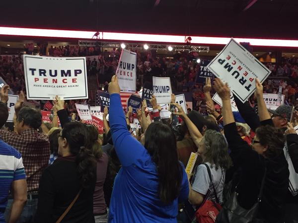 Trump supporters at a rally in Loveland on Monday, Oct. 3, 2016