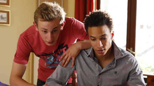 Kacey Mottet Klein (left) and Corentin Fila in <em>Being 17</em>, a film by André Téchiné.