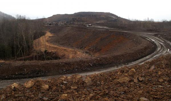 A haul road leads to the top of the Tams mountaintop removal mine near Beckley, W.Va.