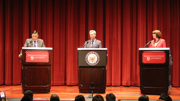 Joe Pakootas responds to moderator Cornell Clayton of the Washington State University Foley Institute in debate with Rep. Cathy McMorris Rodgers of Washington's 5th Congressional District at WSU in Pullman Wednesday.