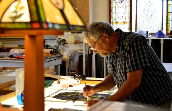 Dirk Thompson at Thompson Art Glass in Brighton, Michigan.
