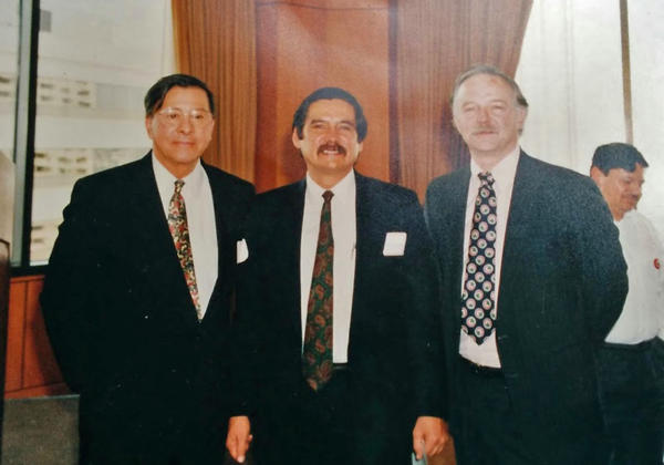 From left to right Mario Obledo, Lupe Gamboa and Michael Fox gathered in Seattle for an awards ceremony in the 1980s. Gamboa and Fox were arrested in the 70s for trespassing to visit farmworkers. Obledo represented them in that case.