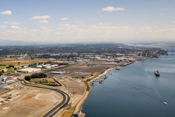 <p>A rendering of what the Vancouver Energy Project would look like at the Port of Vancouver. The facility could move 360,000 barrels of crude oil from rail to ship every day.</p>