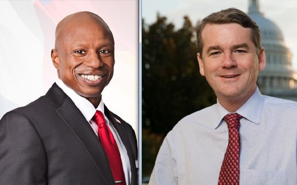 Darryl Glenn, a Republican, and U.S. Sen. Michael Bennet, a Democrat