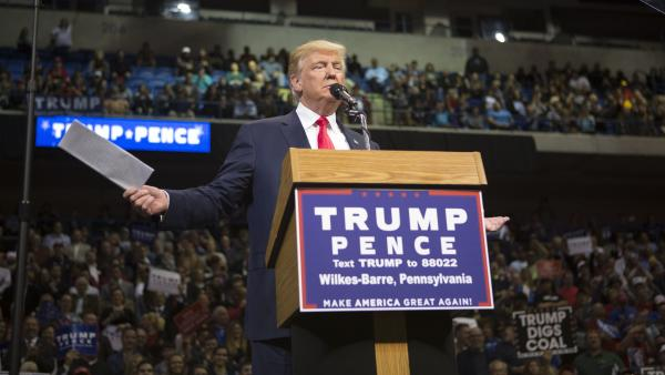 Republican presidential nominee Donald Trump holds a campaign rally in Wilkes-Barre, Pa., on Monday.