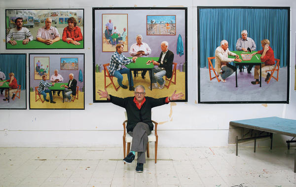 In a recent series of photographic drawings, David Hockney, shown above in his studio, plays with the relationship between painting and photography.