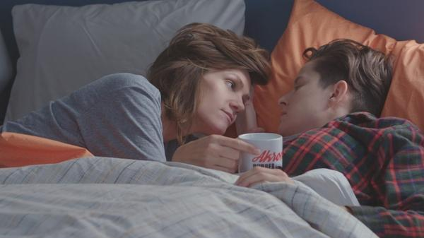 Cameron Esposito (left) and her wife Rhea Butcher play married comedians in their new show <em>Take My Wife.</em>