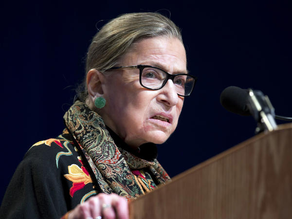 Supreme Court Justice Ruth Bader Ginsburg speaks at Brandeis University in Waltham, Mass., earlier this year.