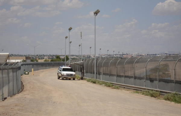 The border fence between Texas and Mexico near El Paso.