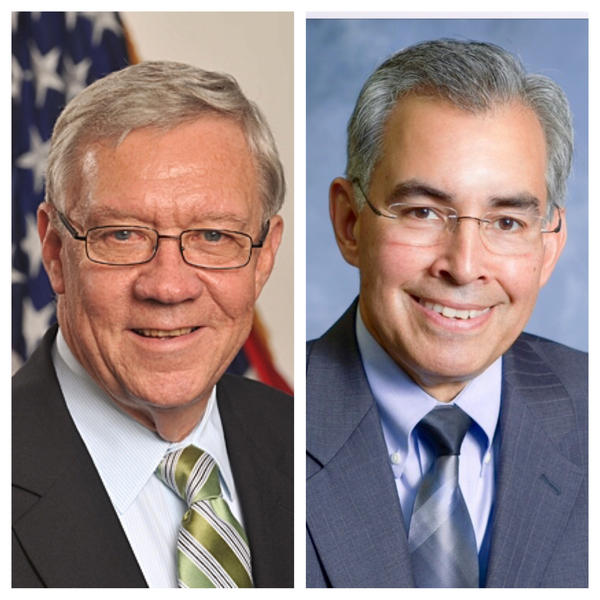 George Sheldon (left) is acting secretary of the Illinois Department of Children and Family Services; James Dimas is Illinois Secretary of Human Services