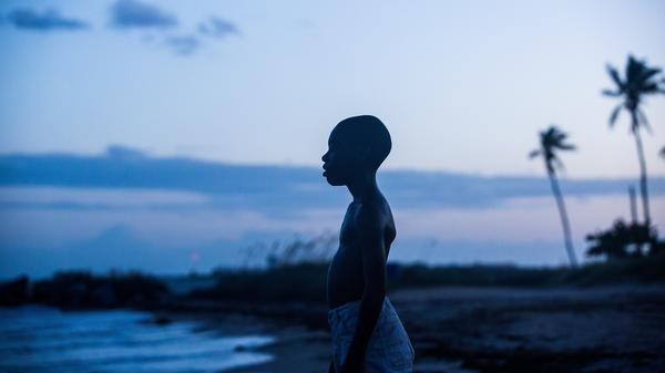 Alex R. Hibbert as Chiron, a young black man growing up gay in an impoverished part of Miami in <em>Moonlight</em>.