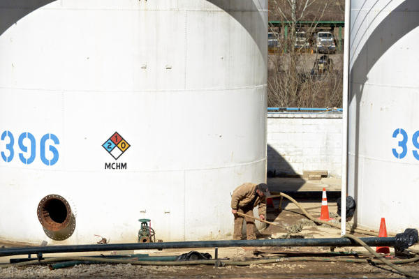 <p>A worker prepares to dismantle Freedom Industries chemical storage tanks in Charleston W.Va. on Saturday, Mar. 15, 2014.</p>
