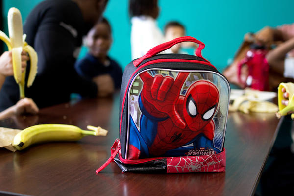 A Spider-Man lunch box on duty at Payne Elementary School in Washington, D.C.